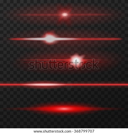 Red horizontal lens flares pack. Laser beams, horizontal light rays. Vector, eps10.