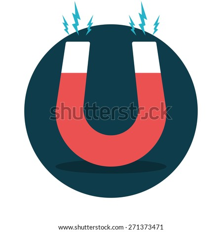 Red horseshoe magnet, magnetism, magnetize, attraction. Flat design. Vector illustration.