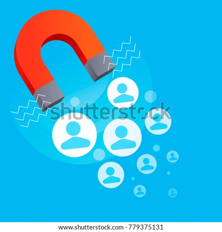 Red horseshoe magnet, magnetism, magnetize, attraction. SEO Attraction of the target. Vector flat illustration