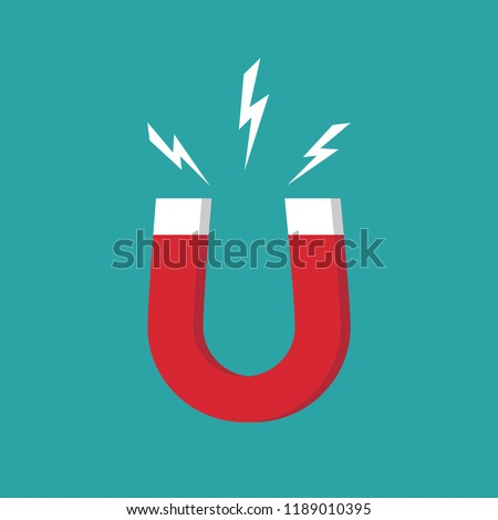 Red horseshoe magnet with magnetic power sign on blue background. u-shaped magnet icon. Magnetism, magnetize, attraction concept. Vector illustration