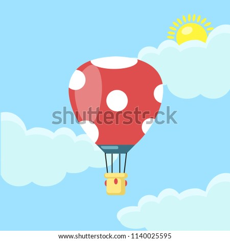 Red Hot air balloon, aircraft in the sky with clouds isolated on blue background. Aerospace, airship with basket. Flat cartoon design. Vector illustration.