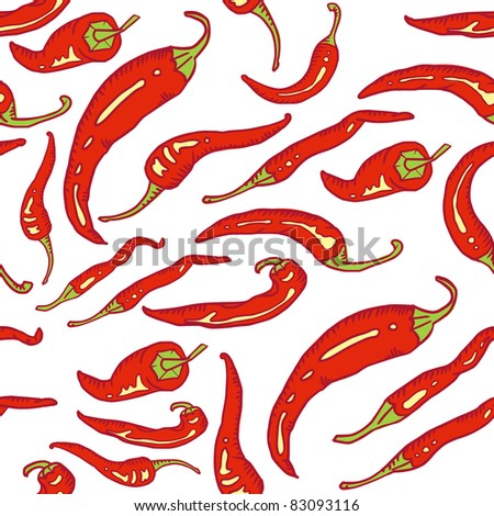 Red hot chili peppers on white seamless background - stock vector