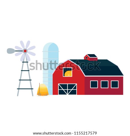 Red house barn with silo, windmill and pile of hay flat style vector illustration isolated on white background. Agricultural and farming landscape elements for your needs