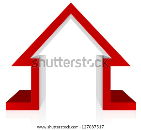 Red House 3D Vector � Home Security, Home Defense, Mortgage, Healthcare