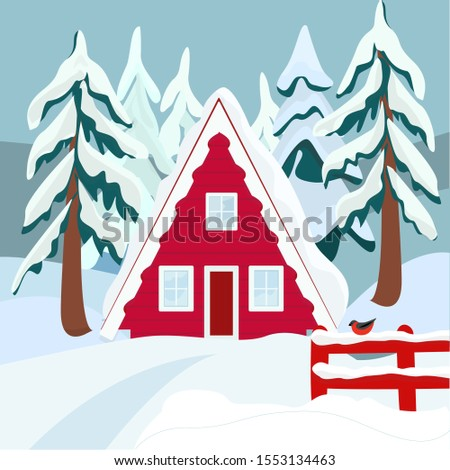 red house in winter forest