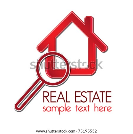 Red house with a magnifying glass
