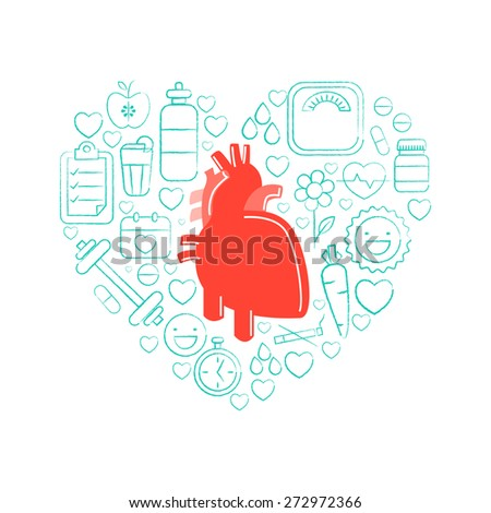 red human heart with different