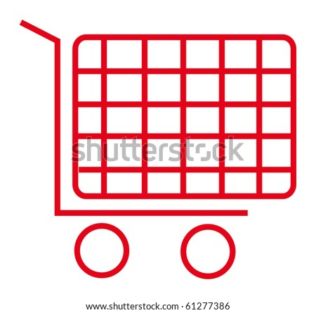red icon of shopping cart isolated over white background