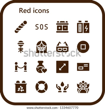 red icon set 16 filled red