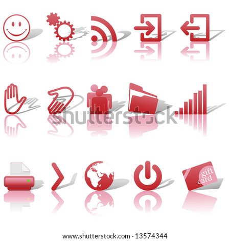 red icon symbol set 2  printer