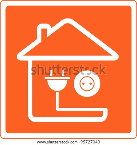 red icon with house silhouette and socket with plug - stock vector