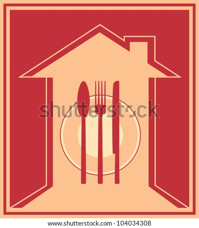 Red icon with house silhouette and utensil, plate, fork, knife, spoon, napkin