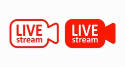 Red icons for live broadcast cameras for blogging, online broadcasts, and news feeds. Vector illustration