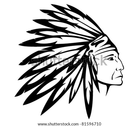 Red Indian chief wearing traditional headdress - vector illustration