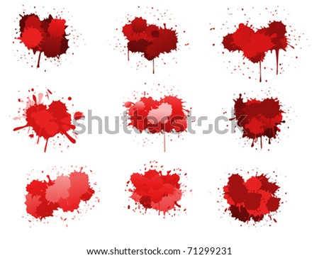 Red ink blobs isolated on white for design. Jpeg version also available in gallery