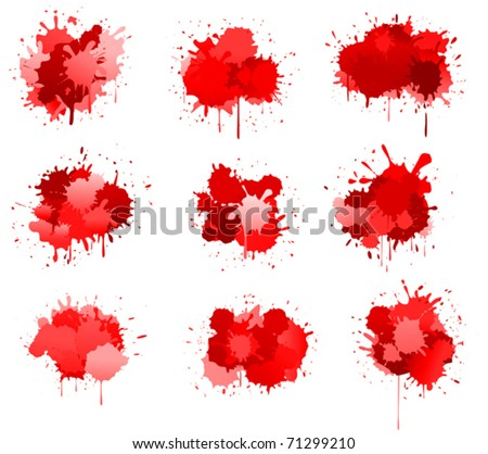 Red ink or blood blobs isolated on white for design. Jpeg version also available in gallery
