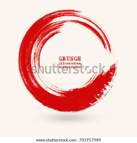 red ink round stroke on white