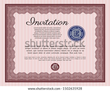 Red Invitation. Artistry design. With quality background. Customizable, Easy to edit and change colors.
