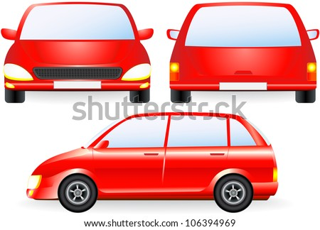 red isolated car silhouette, front and profile icon in vector