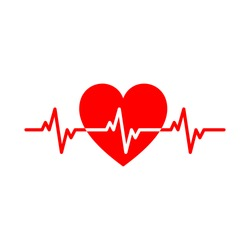Red isolated icon of heart with white pulse line on white background. Silhouette of heart. Flat design. Symbol of healthy lifestyle and love.