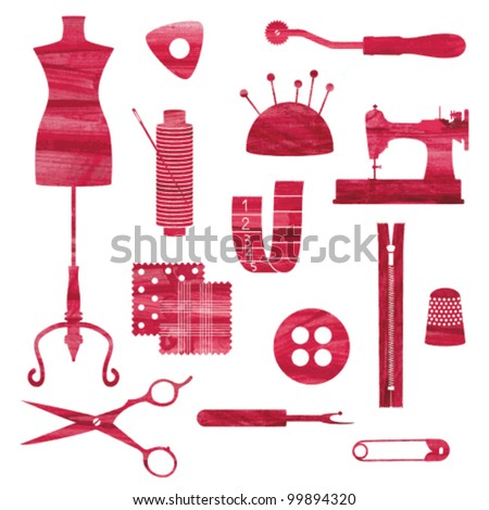 Red isolated sewing and tailoring symbols