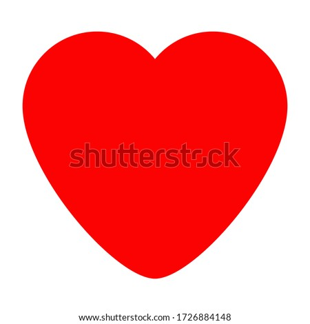 Red Isolated Vector Heart On White Background. Illustration Of Flat Heart Symbol. Graphic Design In The Concept of Love. Love Symbol And Emblem for Valentines Day.