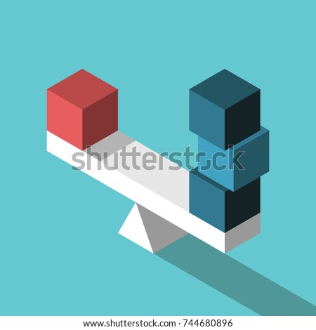 Red isometric box and three blue ones on seesaw weight scale in equilibrium. Uniqueness, balance, leadership and competition concept. Flat design. Vector illustration, no transparency, no gradients