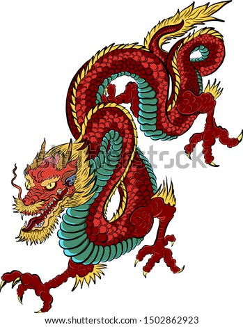 red Japanese dragon tattoo.Dragon on red background for Chinese New Year.Gold Chinese Dragon vector. Gold line art King Dragon tattoo.cartoon vector for t-shirt.