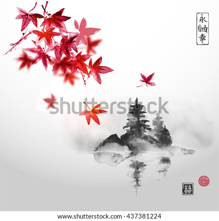 red japanese maple leaves and