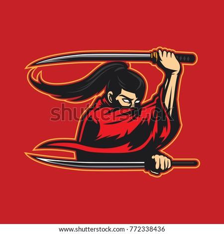 red japanese samurai holding