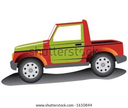 Red jeep with green door.
