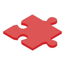 Red jigsaw icon. Isometric of red jigsaw vector icon for web design isolated on white background