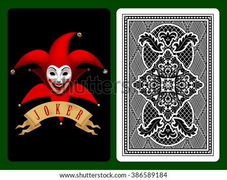 red joker playing card on black