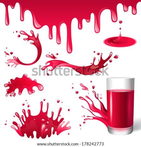 red juice splashes