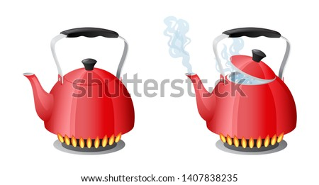 Red kettle with boiling water on gas kitchen stove flame, teapot with closed and open lid, evaporating water from the spout, boil water, solated on white background vector illustration