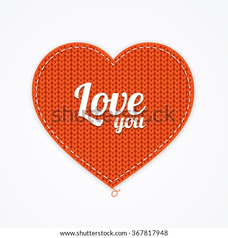 red knitted heart love you