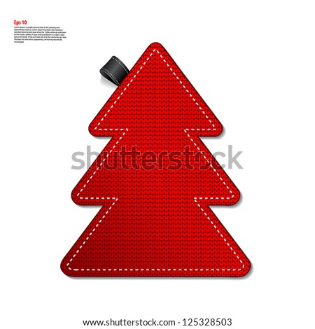 Red knitted pine tree label - stock vector