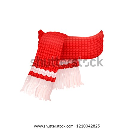 Red knitted scarf with white woolen threads isolated vector icon. Winter cachemire fashion handmade muffler, warm neckerchief accessory, wintertime cloth