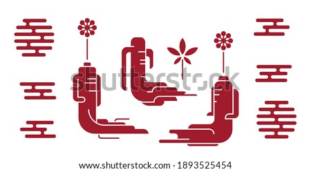 Red korean or chinese ginseng icons. Ginseng root symbol in minimal style. Chinese, korean traditional medicine, food. Line or outline icons. Vector illustration Stock foto ©
