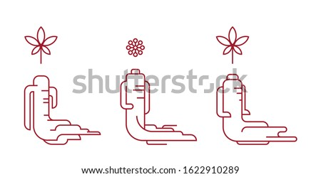 Red korean or chinese ginseng icons. Red ginseng symbol in minimal style. Chinese, korean traditional medicine, food. Line or outline icons. Vector illustration Stock foto ©