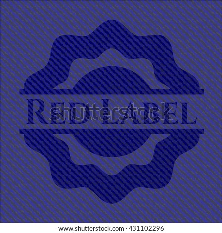 Red Label badge with jean texture