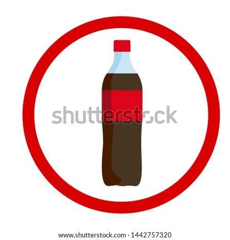 Red label bottle icon, vector illustration