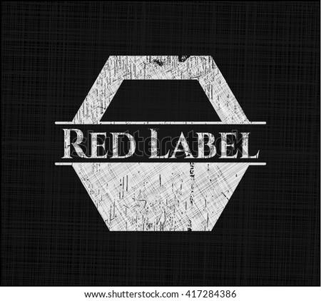 Red Label chalk emblem, retro style, chalk or chalkboard texture