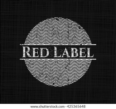 Red Label chalkboard emblem on black board
