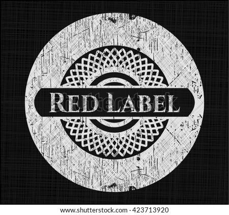 Red Label chalkboard emblem written on a blackboard