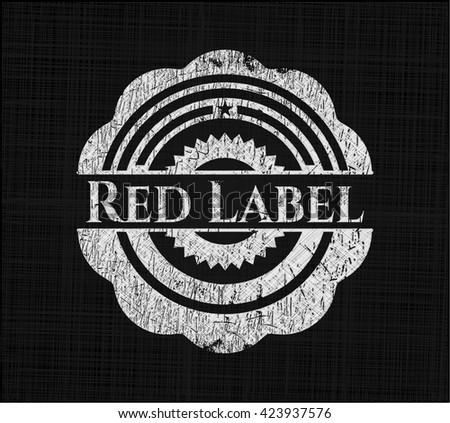 Red Label on chalkboard