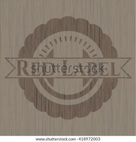 Red Label realistic wood emblem