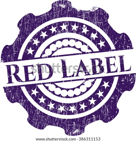 Red Label rubber stamp with grunge texture