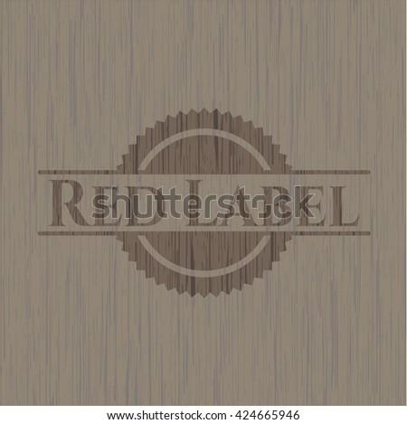Red Label vintage wooden emblem