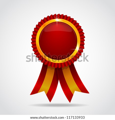 Red label with ribbons Vector illustration Vector illustration EPS 10